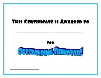 Certificate for Outstanding Behavior- Blue