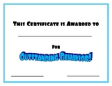 Certificate for Outstanding Behavior- Blue
