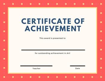 Certificate of Achievement - Art