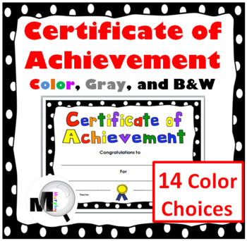End of the Year Award - Certificate of Achievement