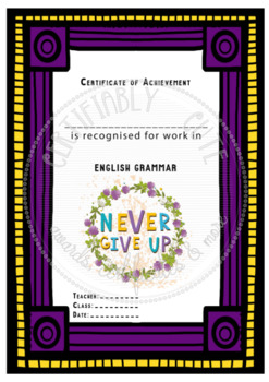 Certificate of Achievement English Grammar