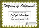 Certificate of Achievement English Literature Fantastic Job