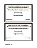 Certificate of Achievement - Fillable Form