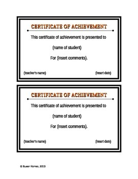 Certificate of Achievement - Fillable Form