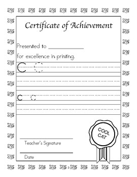 Certificate of Achievement: Manuscript Handwriting Style