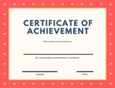 Certificate of Achievement - Science