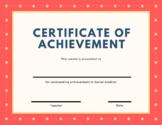 Certificate of Achievement - Social Studies