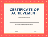 Certificate of Achievement - Spanish