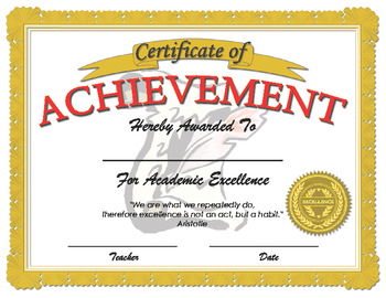 Certificate of Achievement for Academic Excellence