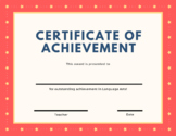 Certificate of Achievement - Language Arts