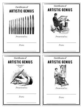 Certificate of Artistic Genius: Quick and Easy Art Room Rewards
