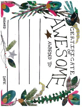 Certificate of Awesome - beautiful hand drawn/mixed media award for anything!