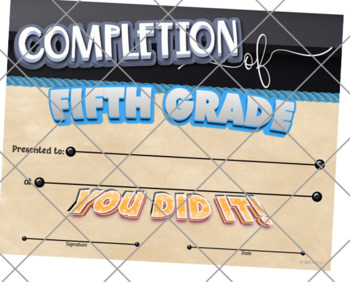 Certificate of Completion – Fifth Grade {Fillable}