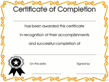 End of Year Graduation Certificate, Award or Diploma of Completion