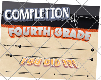 Certificate of Completion – Fourth Grade {Fillable}