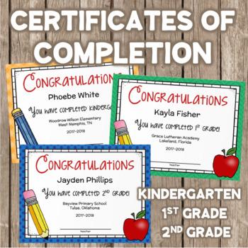 Certificate of Completion for Kindergarten, First Grade, Second Grade