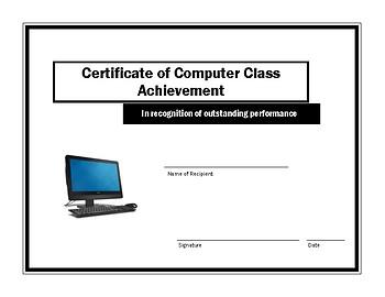 Certificate of Computer Class Achievement