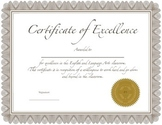 Certificate of Excellence: English and Language Arts