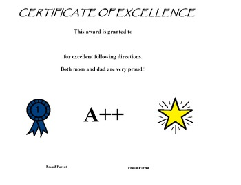 Certificate of Excellence for Following Directions for Parents to Sign