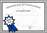 Certificate of Excellence in Literature Great Job!