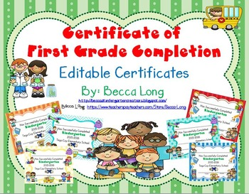 Certificate of First Grade Completion - Editable Certificates