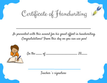 Certificate of Handwriting for Boys