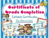 Certificate of Kindergarten Completion - Editable Certificates