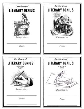 Certificate of Literary Genius: Easy Classroom Rewards