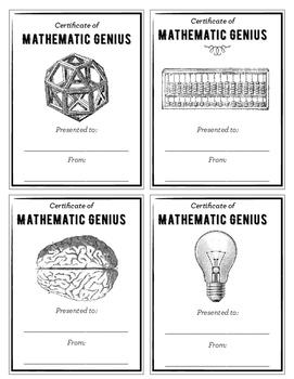 Certificate of Mathematic Genius: Easy Classroom Rewards