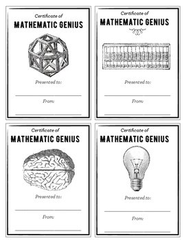 Certificate of Mathematic Genius: Easy Classroom Rewards