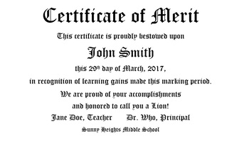 Certificate of Merit (template)