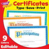 Certificate of Participation | Multiple Colors | Print & Digital