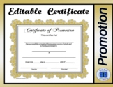 Certificate of Promotion Gold Rosette - Editable