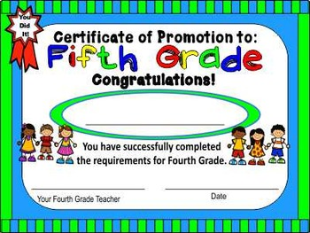 Certificate of Promotion (or) Completion (1st – 6th grade)