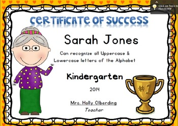 Certificate of Success - Letter Recognition