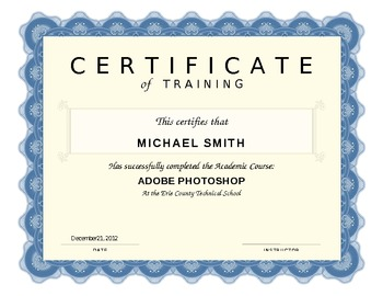 Certificate of Training Microsoft Word Template
