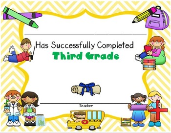 Certificate of third grade Completion - Editable Certificates
