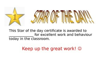 Certificate reward for Star of the day