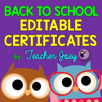 Owl Theme Certificates