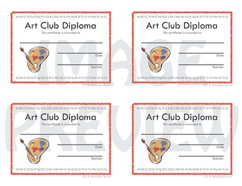 Certificates Art Club Diploma