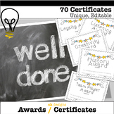 End of Year Certificates Awards All Year 70+ Different Editable Printable White