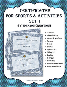 Certificates For Sports & Activites Set 1