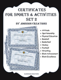 Certificates For Sports & Activities Set 2