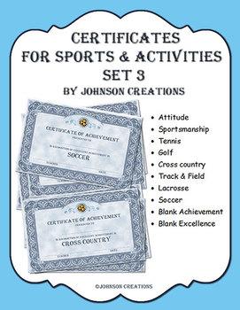 Certificates For Sports & Activities Set 3