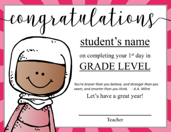 Certificates, GIRLS - First Day, First Week or Last Day of School, editable