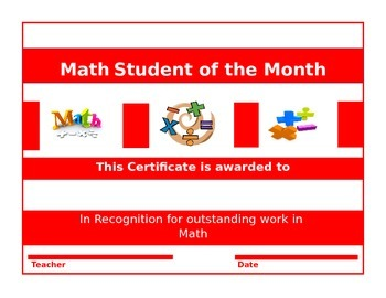 25 Certificates-Math Student of the Week and Month