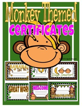Certificates Monkey Themed