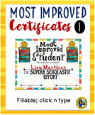 Certificates – Most Improved Awards 1