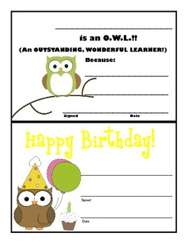 Certificates - Owl Themed!