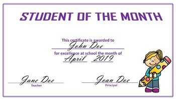 Student of the Week and Student of the Month Certificates